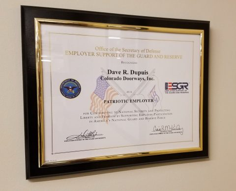 Doorways' President Dave Dupuis' Employer Support of the Guard and Reserve Patriot Award.